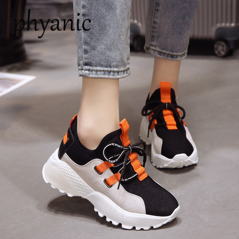 Phyanic Fashion Comfortable Women White Shoes Wedge Lace Up Woman High Heels Casual Shoes For Lady Spring Autumn Sneakers