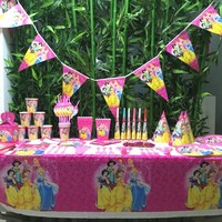 132pcs Kids Birthday Party Supplies Flags Tablecloth Straws Cups Plates Princess And Other Party Supplies Decoration Favors