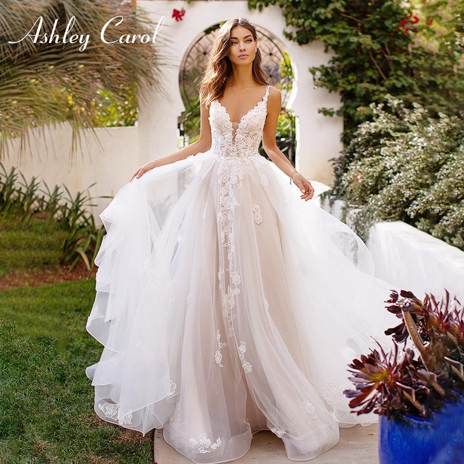 Ashley Carol Sexy Appliques Illusion Back Boho Wedding Dress 2019 New Spaghetti Straps Backless Deep V