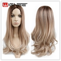 Medium Brown Synthetic Wig Mixed Honey Blonde & White 613 Color Body Wave Middle Part Design Natural Cheap Hair Wig For Women