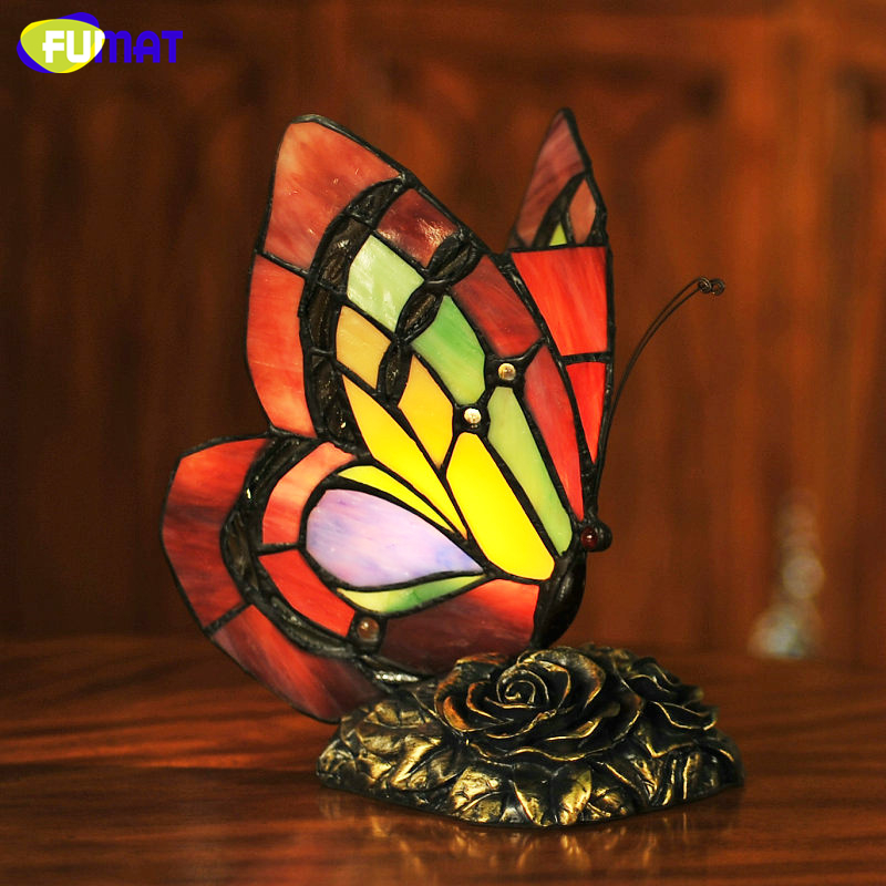 FUMAT Butterfly Table Lamp Art Decor Stained Glass Lights For Living Room Butterfly Tiffany Bedroom Hotel Bedside Table Lamps fumat stained glass pendant lamps european style glass lamp for living room dining room baroque glass art pendant lights led