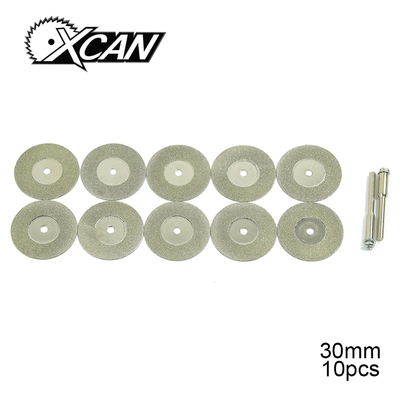 XCAN 10 Pieces Blades Diameter 30mm Rotary Diamond Disc Dremel Tool Accessory Shank Diameter 3.175mm Mini Saw Blade