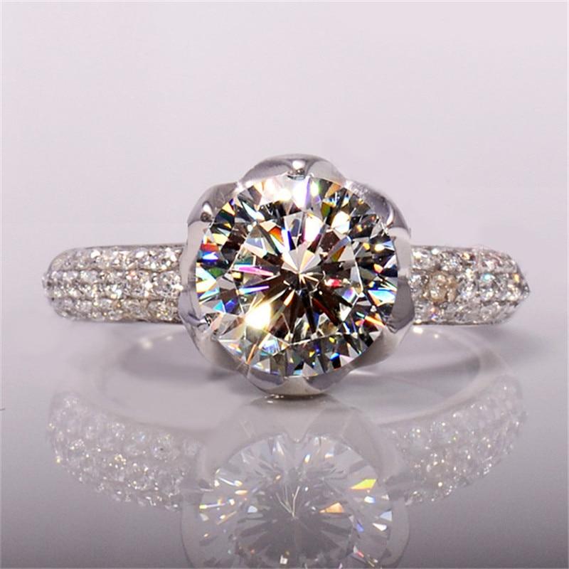 Luxusní 3 karátové plátky Halo Lotus ve tvaru prstenu SONA nscd Snubní prsten Ženy 100% Pure 925 Solid Sterling Silver Engagement Ring