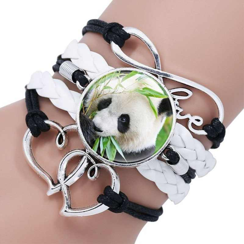 Moda bonito dos desenhos animados panda gigante bebê imagens de cabochão de vidro pulseira de couro infinito pulseira jóias presentes
