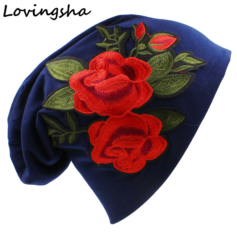 LOVINGSHA Floral Design Hat Fashion Brand Autumn Winter Girl Hats For Women Rose Thin Hat And Beanies Ladies Hat Cap HT049