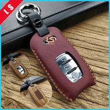 Top The latest 100% genuine leather high quality car key case cover for Audi A6L A4L Q3 A3 Q5 Q7 A4 A6 A5 car key bag 3 buttons car styling accessories for audi a6l q5l a3 q3 q5 s3 a4 a4l q7 a5 2018 key bag cover abs decoration protection key case for car