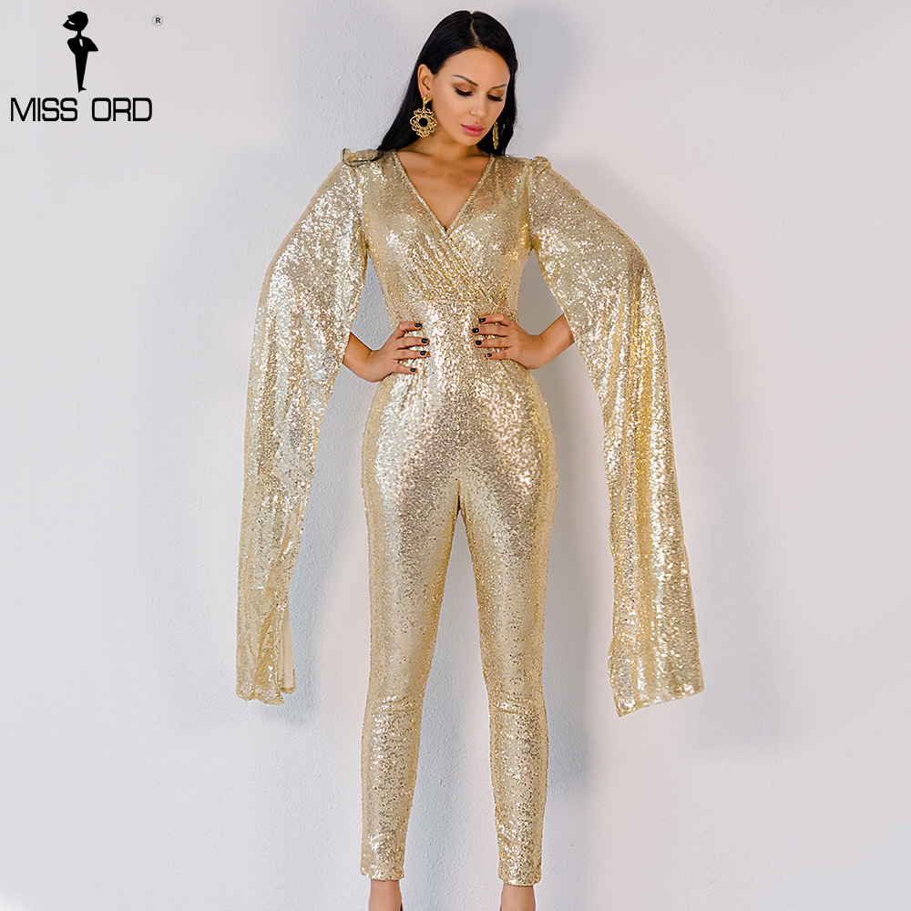 Free Shipping Missord 2015 Sexy deep v Angel wings gold color sequin   JUMPSUITS   FT5121-2
