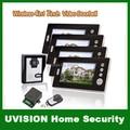 Home 4 Unit Apartment 7inch TFT Monitor Wireless Video Doorphone Door Bell Intercom System free shipping