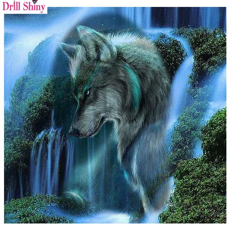 5D DIY Full Drill Diamond Painting Wolf Cross Stitch Hand Embroidery Mosaic Kits