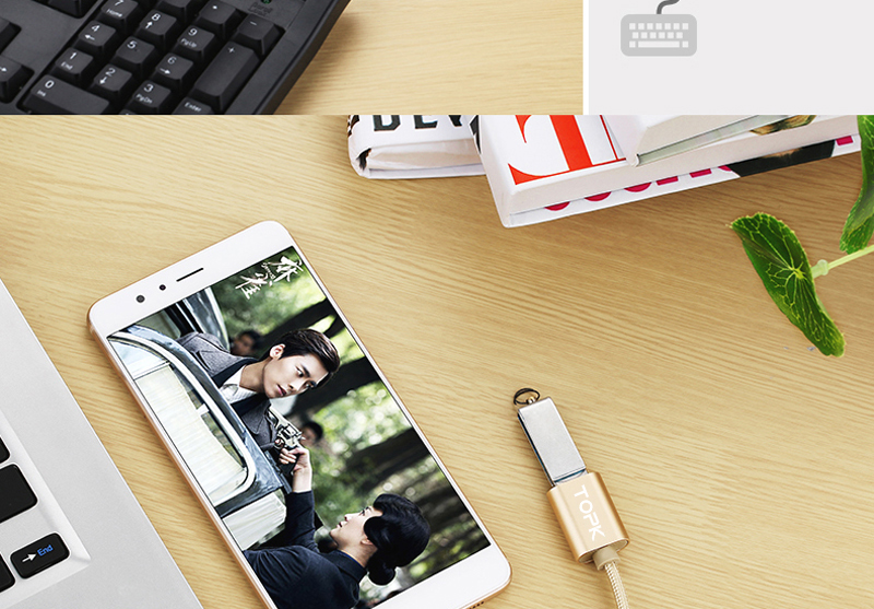 TOPK Micro USB 2.0 OTG Cable And USB OTG Adapter Or Converter Android Mobile Phones 7