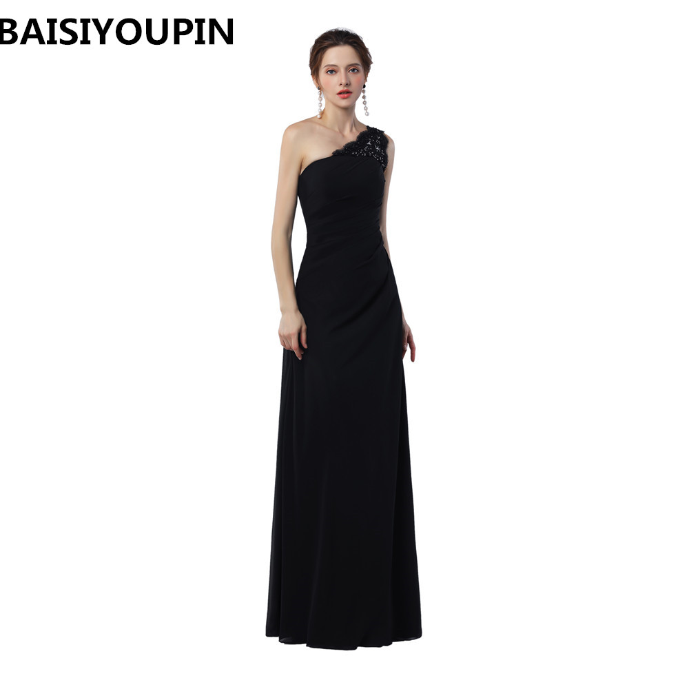 Abiti Da Sera Shop Online.Evening Dress 2020 Abiti Da Cerimonia Da Sera Black Chiffon Long