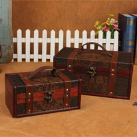 1set Retro Antique old storage box classical Can clamshell Grape pattern Sculpture Collection box Can portable Secret room props