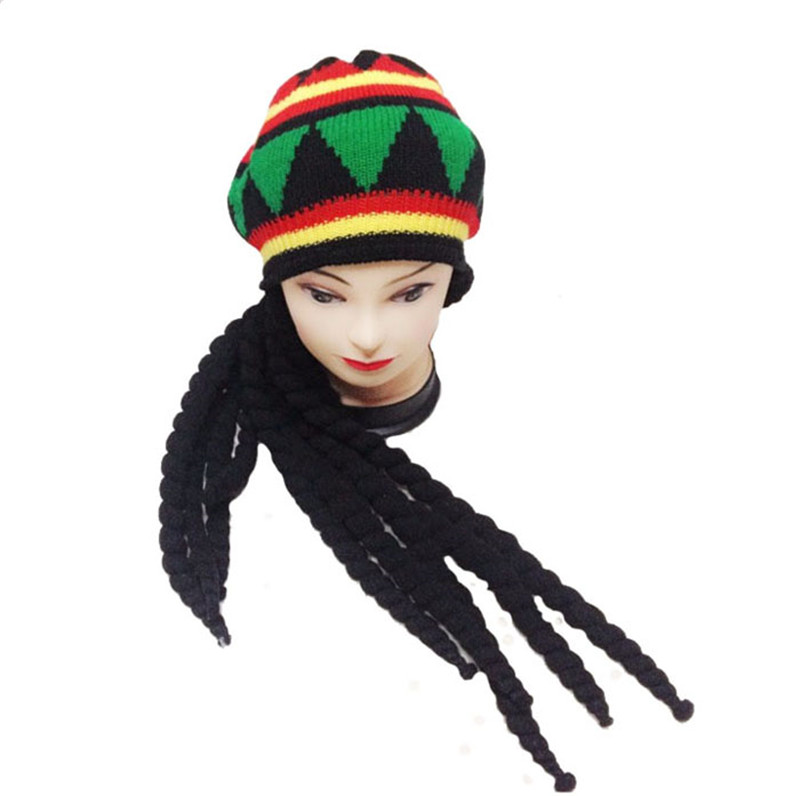Men Women Jamican Rasta Hat Dreadlocks Wig Bob Marley Caribbean ...