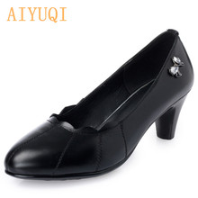AIYUQI 2019  autumn natural genuine leather woman single shoes ,sexy high heels platform pumps crystal women Office