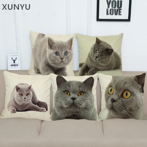 XUNYU Cute British Shorthair Cat Linen Pillowcase Sofa Decorative Pillow Cover Animal Pattern Square Cushion Cover 45X45cm AC011(China)