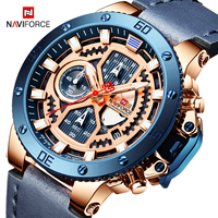 NAVIFORCE Casual Sport Watches Men Blue Military Leather Wrist Watch Top Brand Luxury Man Clock Fashion Chronograph Watch 9159