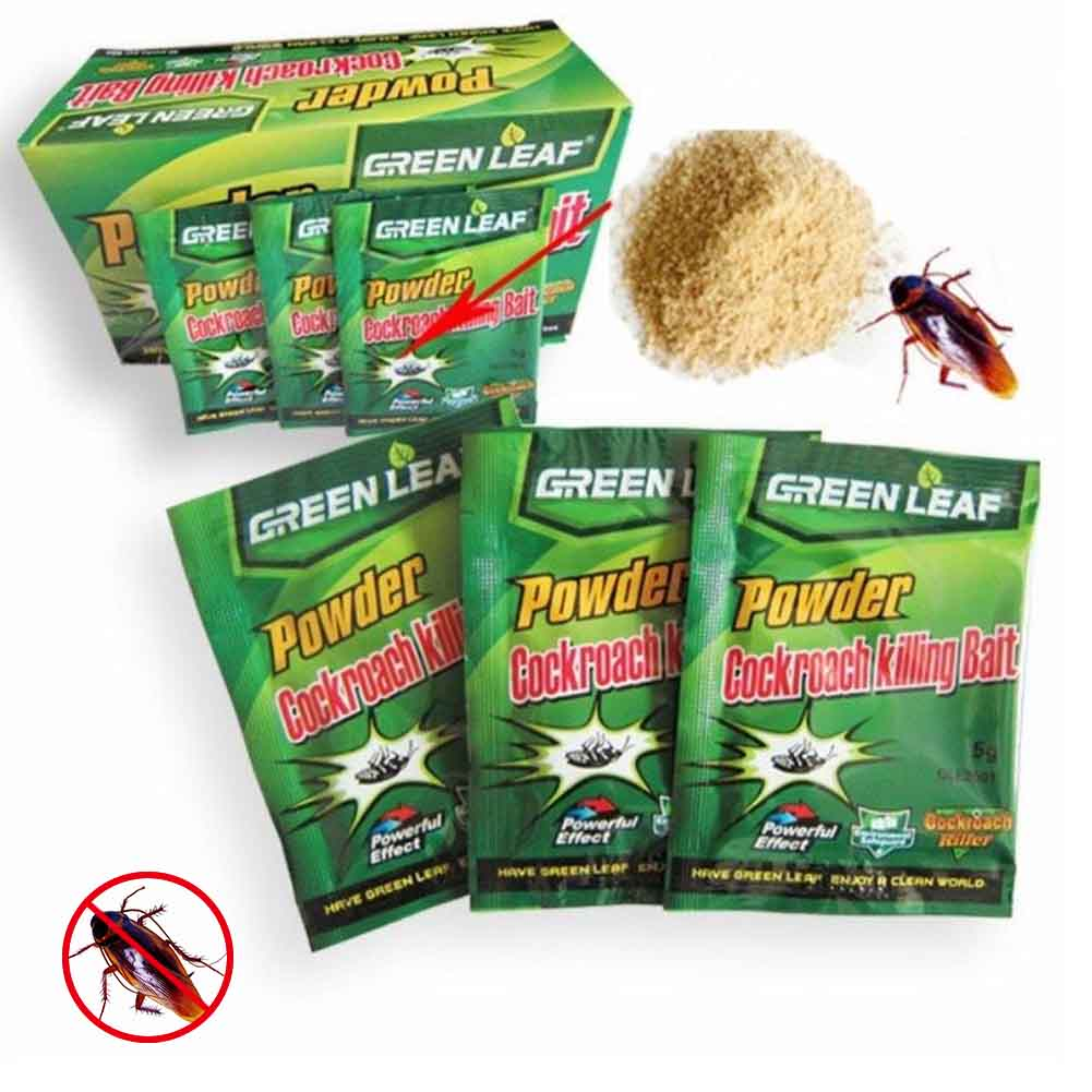 10 Packs Green Leaf Powder Cockroach Killer Bait Repeller Killing Trap Pest Control LBShipping
