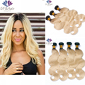 Ombre Blonde Braizlian Virgin Hair Weaves 1B 613 Ombre Brazilian Hair Body Wave 3pc Brazilian Blonde Ombre Human Hair Bundles