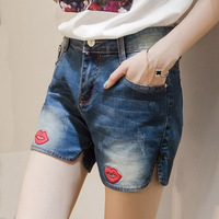 2016 Women Large Size Shorts Female Summer Stretch Denim Shorts Breeches Slim Straight Short Jeans S2150