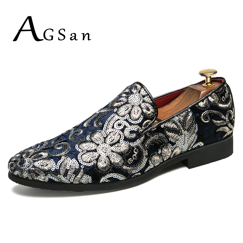 AGSan Handmade Luxury Brand Men Velvet Loafers Classic Party Loafers Blue Black Embroidery Dress Loafers Mens Wedding Shoes