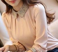 New Fashion Korean Lady Long Sleeve Lace Chiffon Shirt Peter Pan Collar Lantern Sleeve Women Blouse