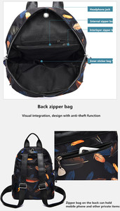 Image 5 - Anti thief Feather Print Backpack Female Oxford Cloth Waterproof Travel Casual Schoolbag  Brand Ladies Large Capacity Backpack