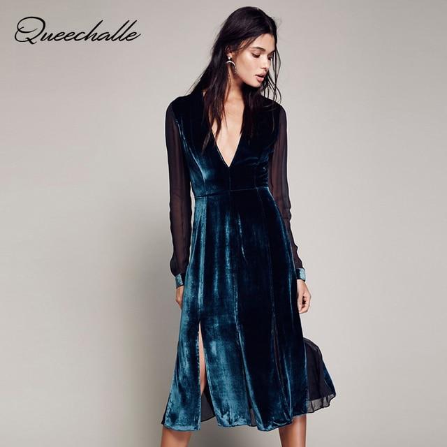aa02fee604 Queechalle Pavão cor azul Sexy Decote Em V Divisão do Império Elegante  Vestido De Veludo Chiffon