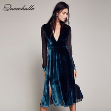 Queechalle Peacock blue color Sexy V Neck Split Empire Elegant Velour Dress Chiffon Long Sleeve Patchwork Women Dress Mid Long