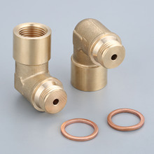2Pcs Brass Oxygen Sensor Lambda Extender Spacer M18 x1.5 Exhaust 90degree O3