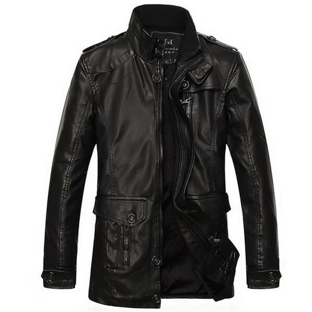 2016 winter casual long leather trench coat men size l-xxxl fur lined leather jacket warm men clothes motorcycle jacket