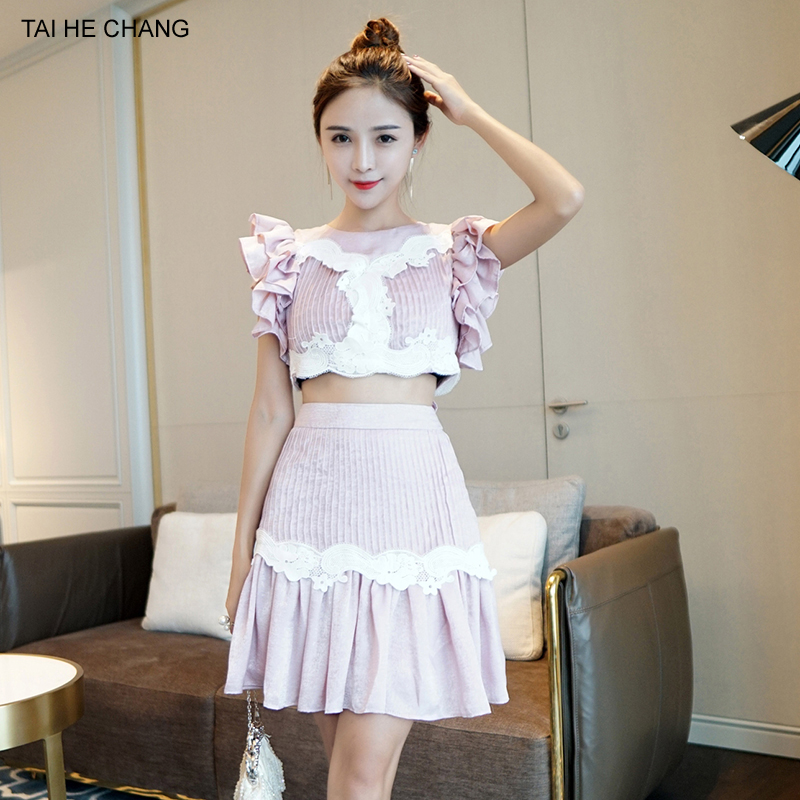 2018 new high-end women set summer elegant vestidos bodycon sexy party pink lace short top + short skirt two piece set women