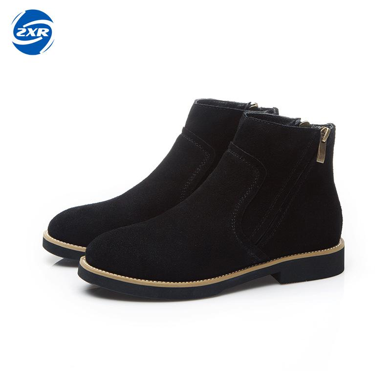 New Women Cow Suede Genuine Leather Fashion Boots Fashion Shoes Zip Design Size 35-40 Autumn Winter Style Boots For Female stylish zip and suede design sandals for women