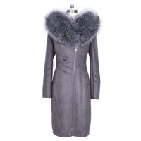 Искусственный мех пальто женские высокие зимние Новые Модные Большой размер сексуальные куртка искусственный Silver Fox воротник замшевое кап
