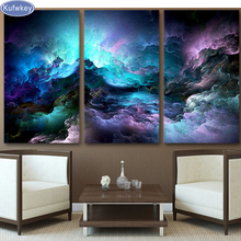 Triptych full Diamond Embroidery abstract art,psychedelic nebula space cloud Painting 3pcs,mosaic picture decor
