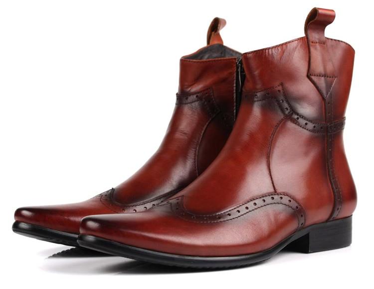 Mada Juoda / Ruda Tan Smailėjanti Toe Motociklų Batai Vyriški Cowboy batai Tikri odiniai batai Vyriški batai
