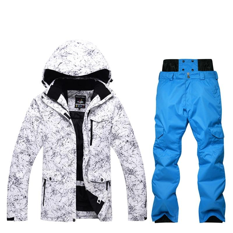 Haute qualité hommes ski costume hiver vêtements imperméable ski Snowboard veste coupe-vent en plein air sport couleur pantalon Super chaud
