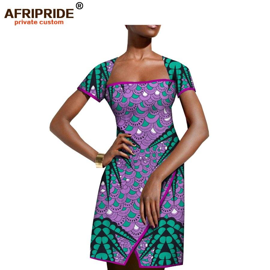 2019 robe d'été africaine pour les femmes AFRIPRIDE manches courtes genou-longueur split femmes robe style décontracté 100% batik coton A1825067