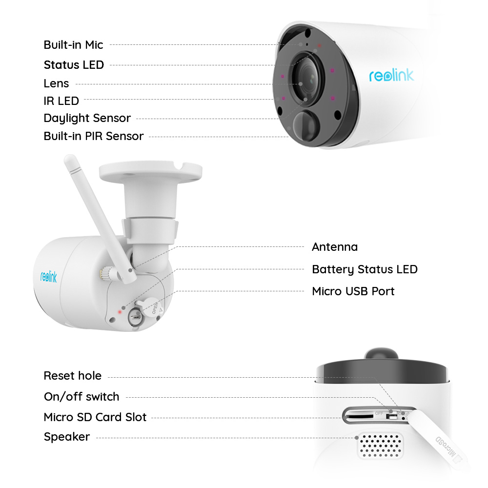 Reolink Argus Eco IP caméra extérieure sans fil caméra de sécurité 1080p Rechargeable alimenté par batterie caméra de Surveillance avec PIR 3