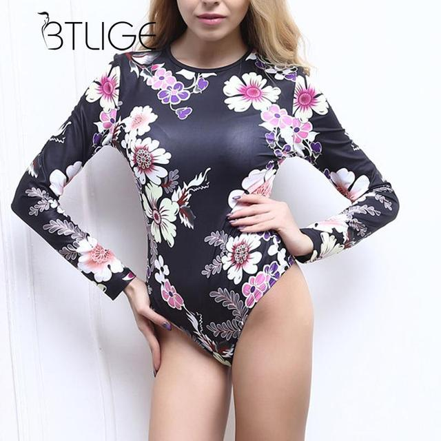 038c4d5ea227 BTLIGE Black Bodysuit Women Flower Print One Piece Swimsuits Long Sleeve  Sexy Swimwear Female Vintage Bathing Suits Monokini New