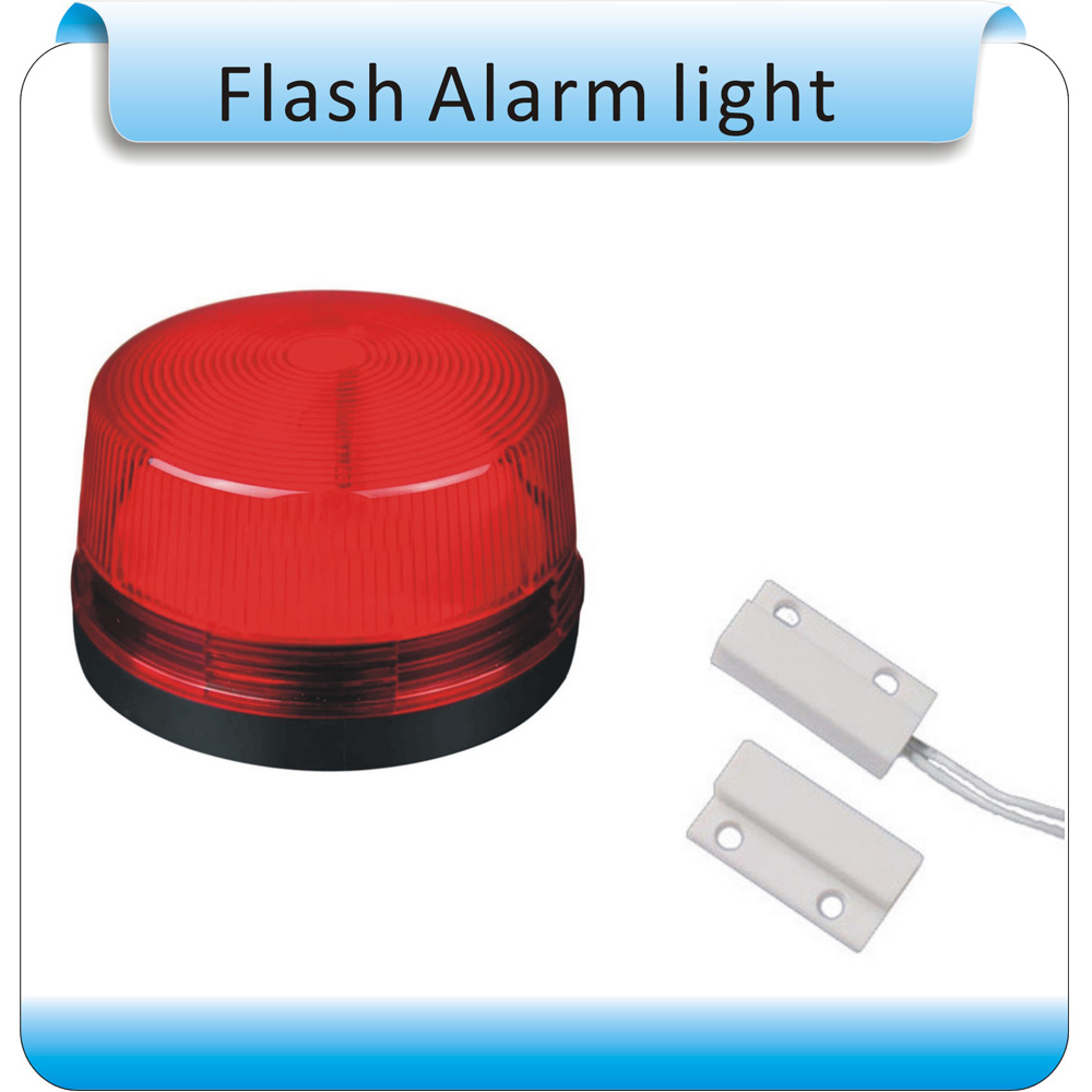 Free Shipping 10pcs +10pcs Magnetic Switch DC12V windows Wired Siren with red Flash light Home Security Alarm Strobe System