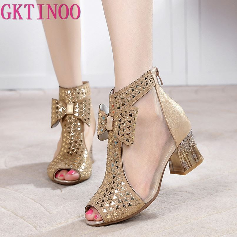 Women Sandals Sexy Gauze Peep Toe Summer Boots Genuine Leather Solid Thick Heel Shoes Woman 3