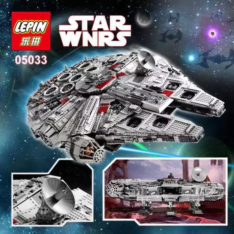 LEPIN 05033 5265Pcs Star Wars Ultimate Collector'sMillennium Falcon Model Building Kit Blocks Bricks Toy Compatible legoed 10179 lepin 22001 pirate ship imperial warships model building block briks toys gift 1717pcs compatible legoed 10210