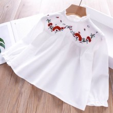 цены на baby girls white blouse embroidery flower long sleeve kids shirt for girl's clothing cute boutiques fashion children clothes  в интернет-магазинах