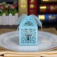 50X Céu Azul Jesus Cruz Cristã de Corte A Laser Caixas de Bombons com Sacos Do Favor Do Casamento Da Fita Caixa de Doces Bebê Chuveiro Partido decorações