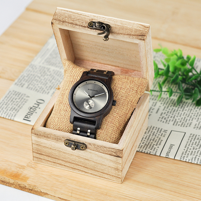 Wooden Lovers' Timepieces watch w/ Metal Strap, in Wooden Box 5