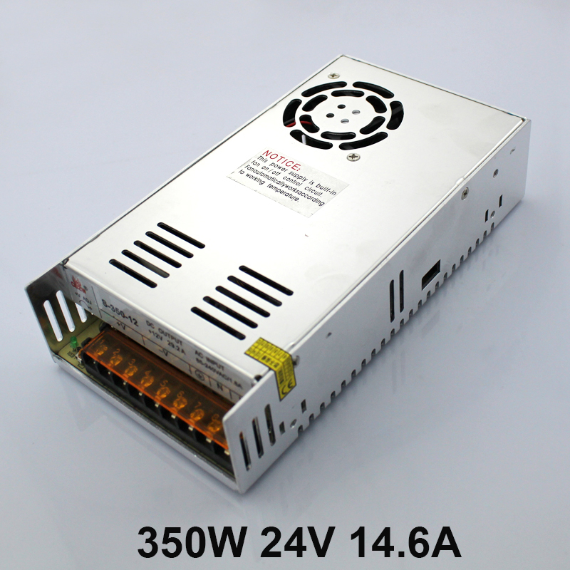 S-350-24V Factory Direct LED Power Source with Cooling Fan 350W 24V 14.6A Transformer 100-240V Switching Power Supply s 350 24 350w 24v non waterproof aluminium switching power supply cooling fan
