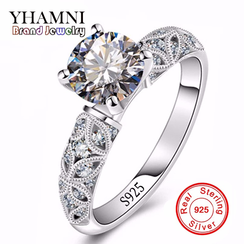 Fine Jewelry Unique Design Rings For Women Real Silver Wedding Rings Set 1 Carat Sona CZ Diamant Silver Engagement Ring MR150 men wedding band cz rings jewelry silver color anillos bague aneis ringen promise couple engagement rings for women