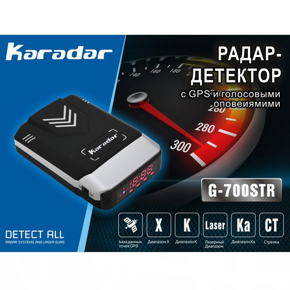 Nueva actualización de la base de detectores de radar del coche con gps v7 Karadar Ruso voz de alerta anti radar laser detector de pantalla LED