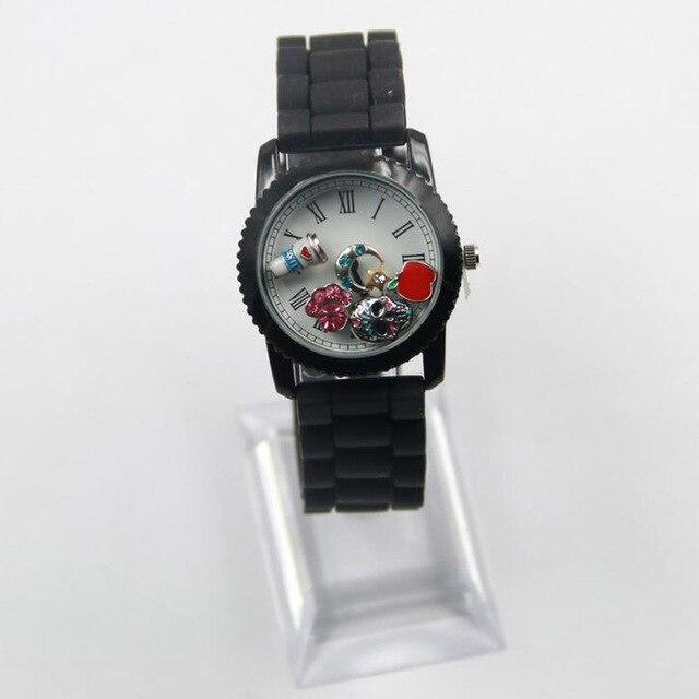 Noir Flottant vivant médaillon montre bracelet avec rayé Bande 2015 ...
