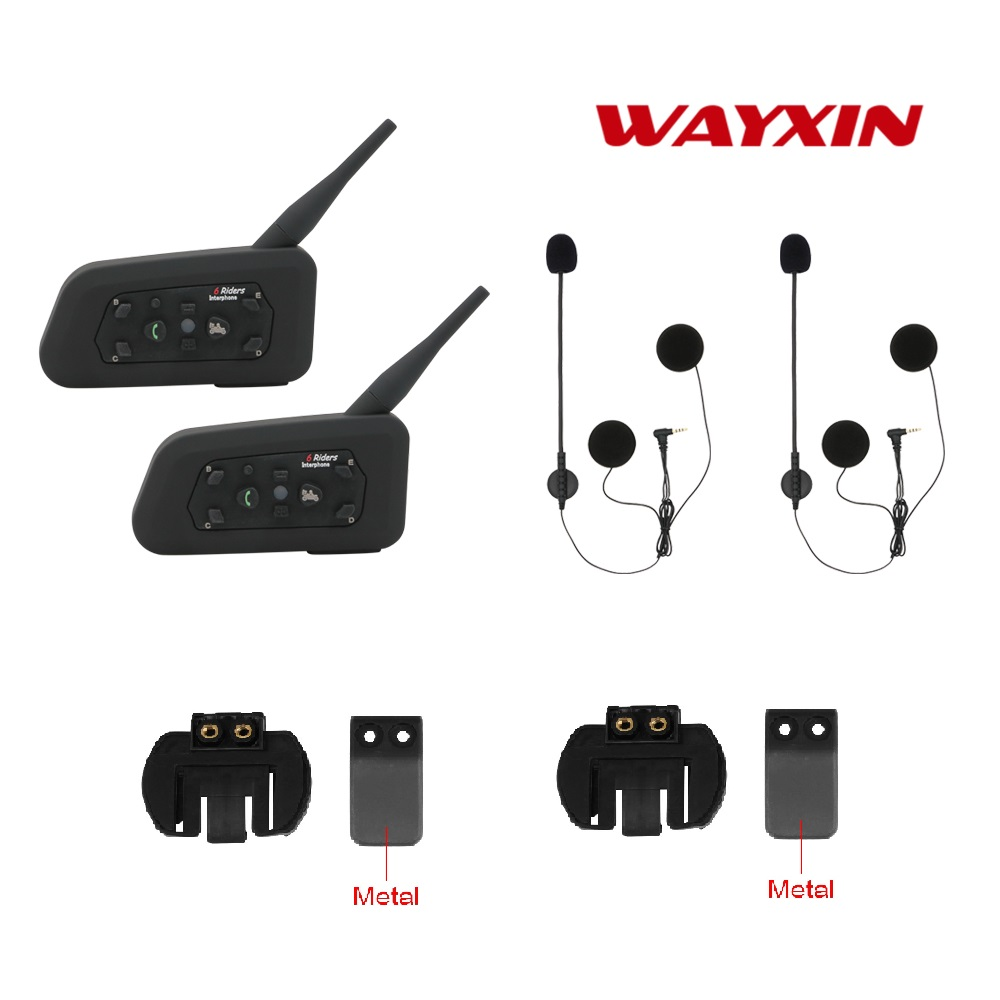 2017 hot intercom R6 Motorcycle intercom 2pcs BT Bluetooth Motorcycle Helmet Intercom Interphone Headset wireless Intercom 1200M